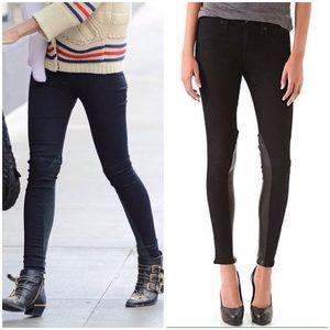Rag & Bone Jodhpur Leather Panel Legging Jeans